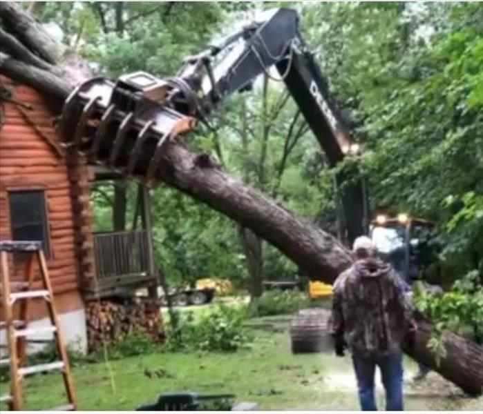 Tree being removed from house.