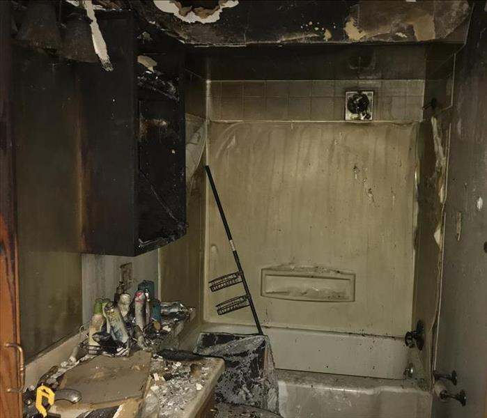 Bathroom destroyed by fire
